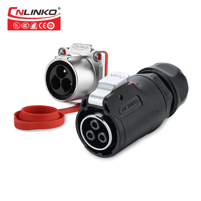 Cnlinko LP series M24 PBT matériel plastique, 3 4 broches 30A, prise de soudure, adaptateur dalimentation, câble, connecteur étanche IP67