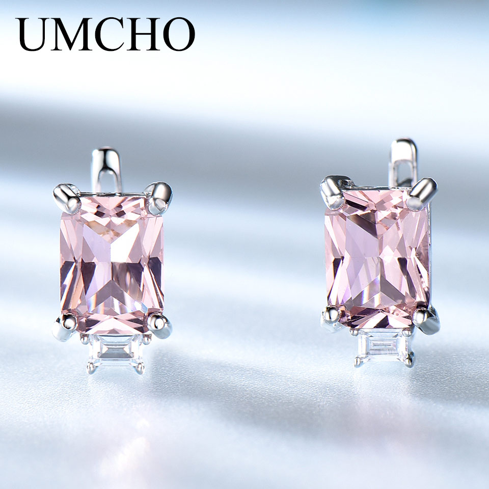 UMCHO 100% Real 925 Sterling Silver Earrings Gemstone Created Morganite Clip Earrings For Female Wedding Gifts Fine Jewelry