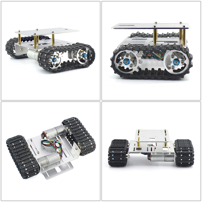 DIY Crawler Robot Chassis Aluminium Alloy Tank Car Chassis Bottom Intelligent Toy monster tank robot chassis chrono crawler chassis sn2600