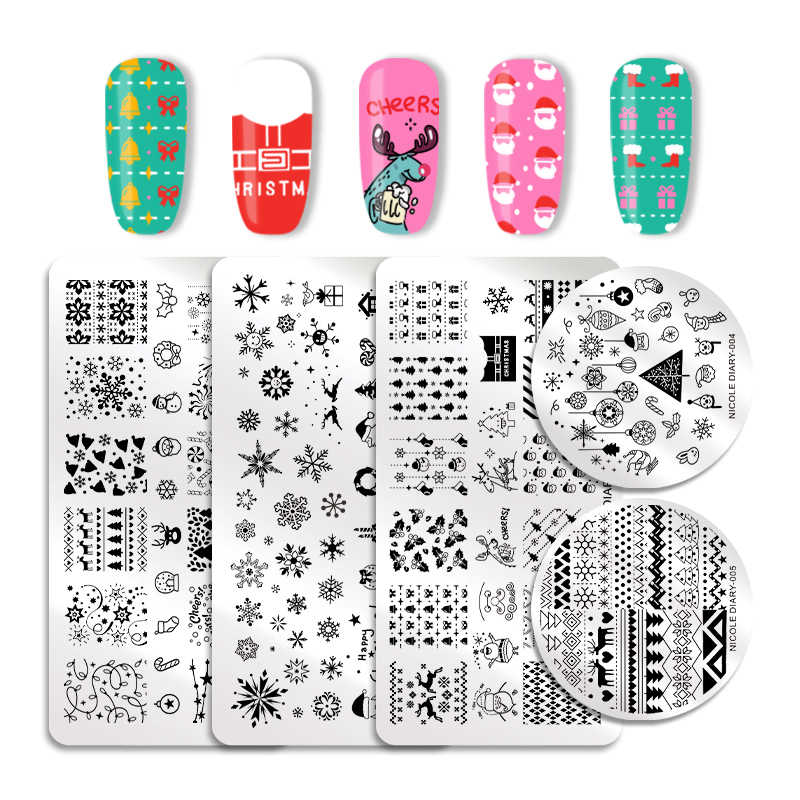 NICOLE DIARY Nail Stamping Plate Rectangle Round Christmas Overprint Series Nail Stamp Image Template Manicure Stencil Nail Tool