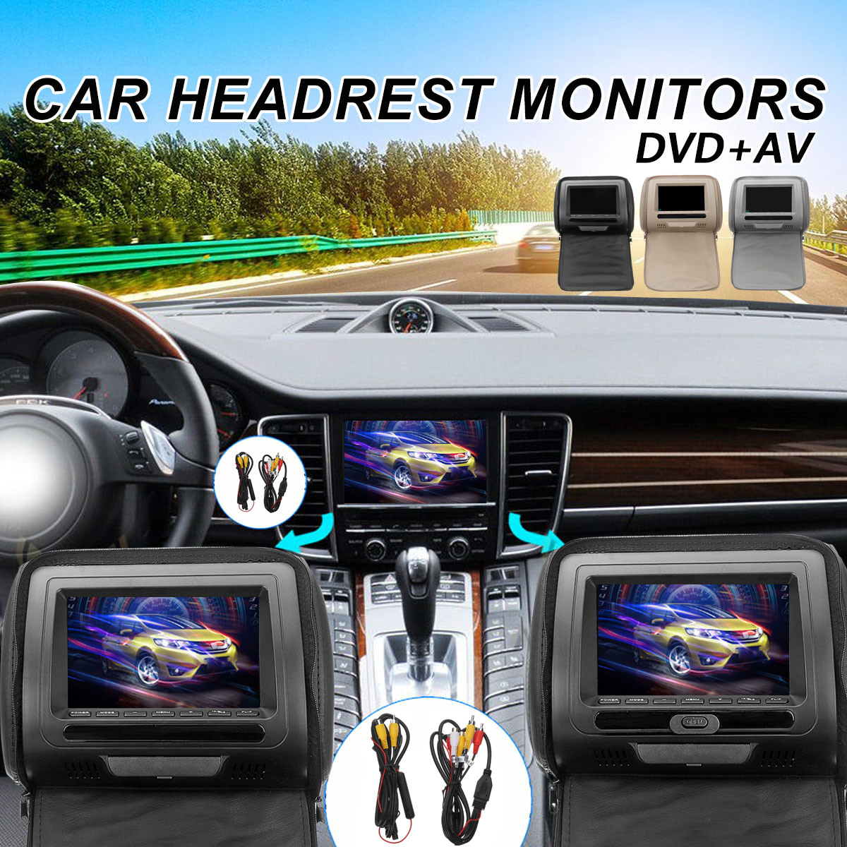 2Pcs/Set 7 Inch Car DVD Headrest Monitor LED Digital Screen Pillow Wireless Remote Control MP5 AV Player  Monitor