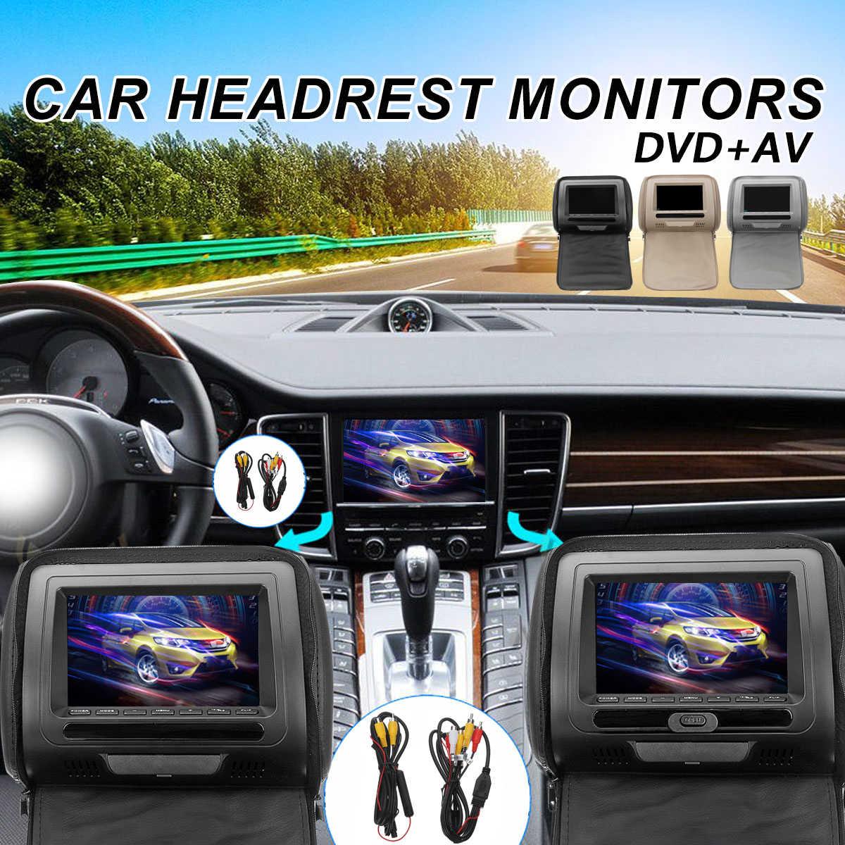2 قطعة/المجموعة 7 بوصة مشغل أسطوانات للسيارة راصد مسند الرأس LED الرقمية شاشة وسادة اللاسلكية التحكم عن بعد MP5 AV لاعب مراقب