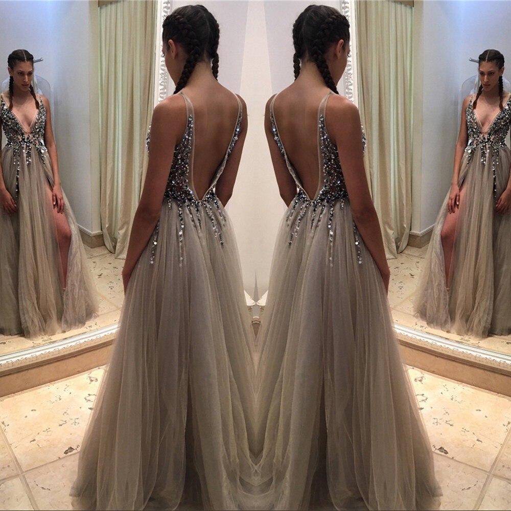 Vestidos De Noite Para A Festa Sexy   Prom     Dresses   2018 Deep V Neck Evening   Dress   Long Front Split Sparkly Bodice Party Gowns
