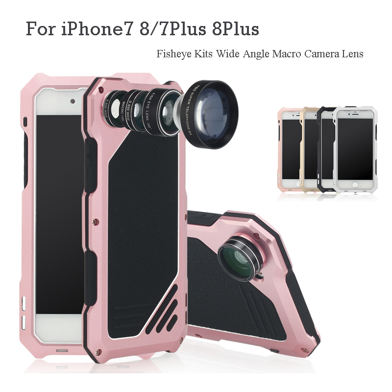 For iPhone7 8 / 7Plus 8Plus 3 in 1 Back Fisheye Kits Wide Angle Macro Camera Lens Antiknock Waterproof Diving Protective Case