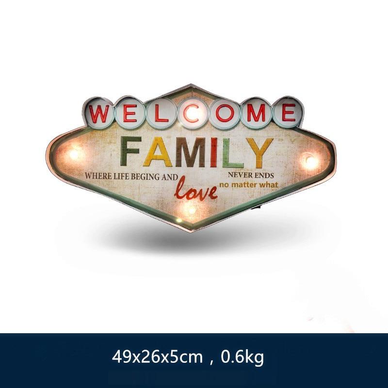 Bienvenue amour famille LED en métal néon signes Vintage décor à la maison tenture murale décorations Bar Pub café haute qualité enseigne A853