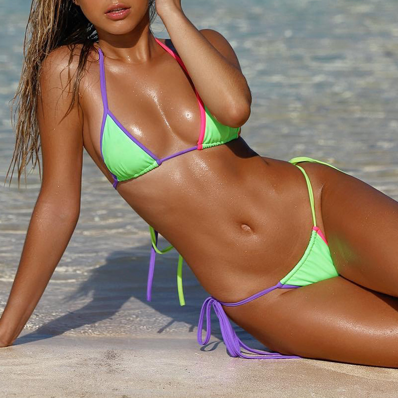 Mossha Sexy Neon Bikini Thong Bathers Micro Bikinis 2019 Woman Push Up Swimwear Women Triangle Swimsuit Female Bathing Suit New