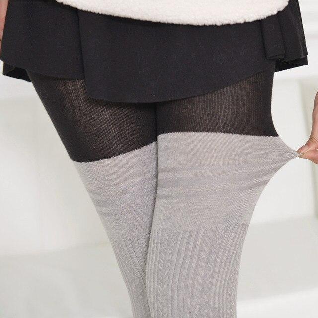 Luxury Winter Warm Tights 100D Skinny Slim Women Plus Size Patchwork Striped Knit Pantyhose Hosiery  5 Color