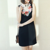 Black Summer Mini Dress Vintage Vestidos Women Flower Embroidery Runway Dresses