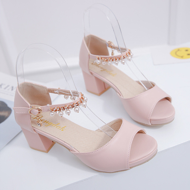 Woman Sandals High-Heeled Shoes Fashion Peep Toe Wedding String Bead Square Heels Pumps 2017 Summer Style Shoes Woman Sexy
