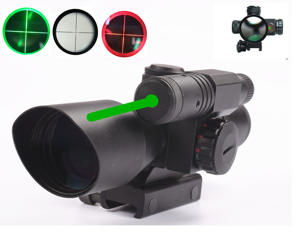 ФОТО Tactical Rifle Green Dot Laser Sight 2.5-10X40 Green Red Mil-dot Illuminated Air Rifle Scope Optics 20MM Weaver/Rail Riflescopes