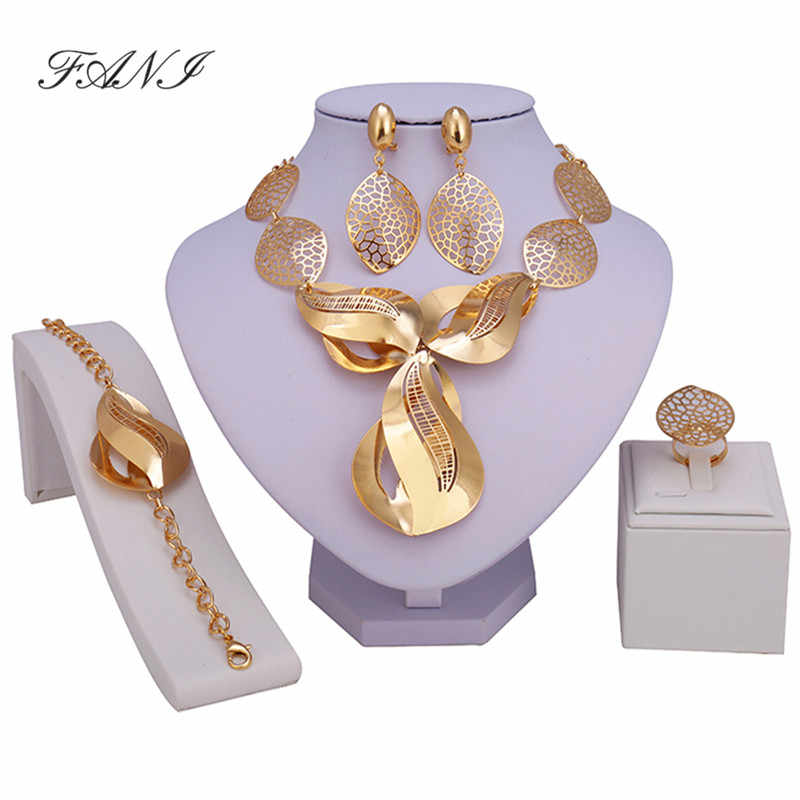 Fani Dubai gold-color Luxury Jewelry Sets Brand Bridal nigerian jewelry set for women Fashion African Beads Jewelry Sets design