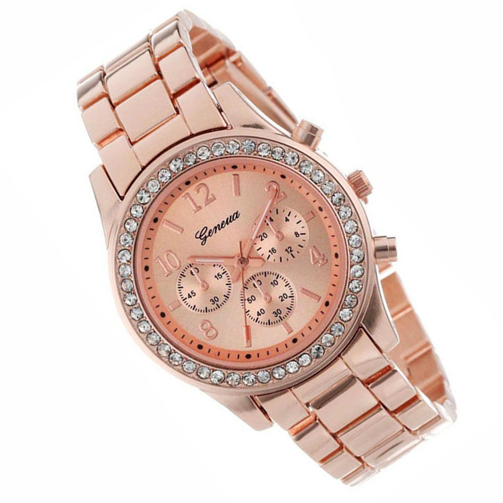 Geneva 2 PACK Rose Gold Plated Classic Round Ladies Boyfriend Watch