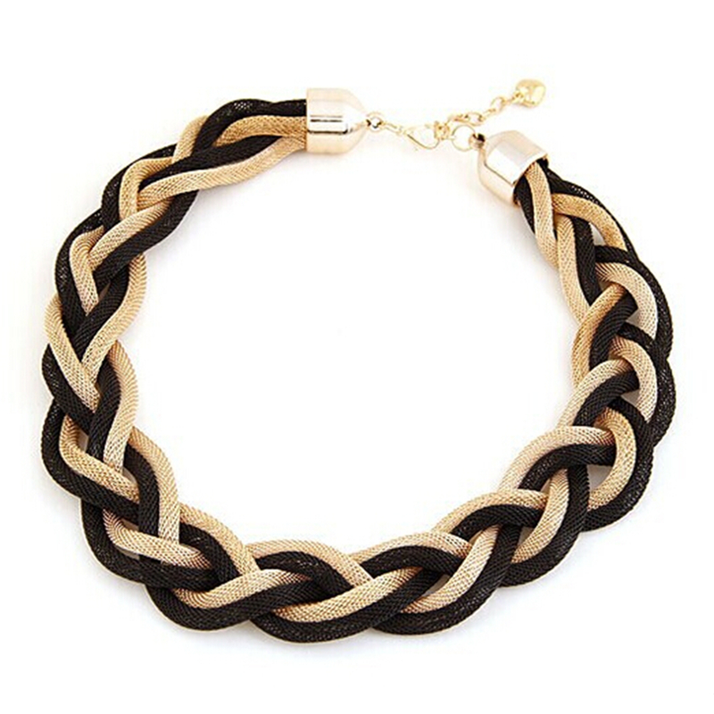 Fashion Summer Style Braided Metal Chain Female Chunky Choker Statement Necklaces Women Jewelry Vintage Necklace Party Gift