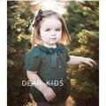 Малыш девушка ползунки сплошной зеленый красный цвет девочка ползунки лето Питер Пэн воротник детские onesie комбинезон 1-4Y