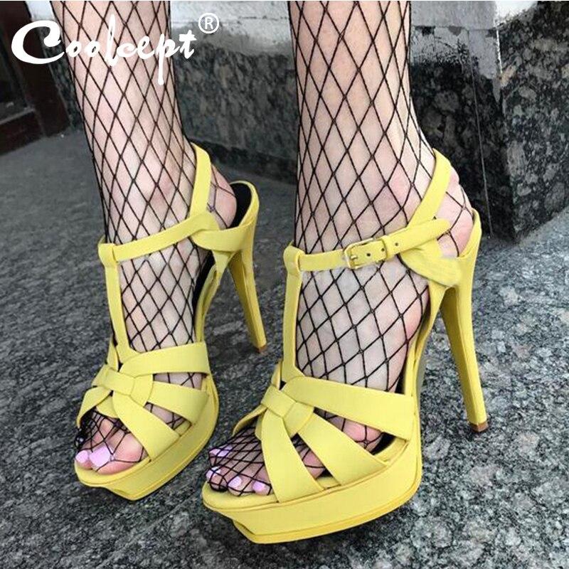Coolcept couro genuíno sandálias de salto alto feminino saltos 10cm e 14cm sexy calçados moda mulher sapatos r4425 venda quente 33-40