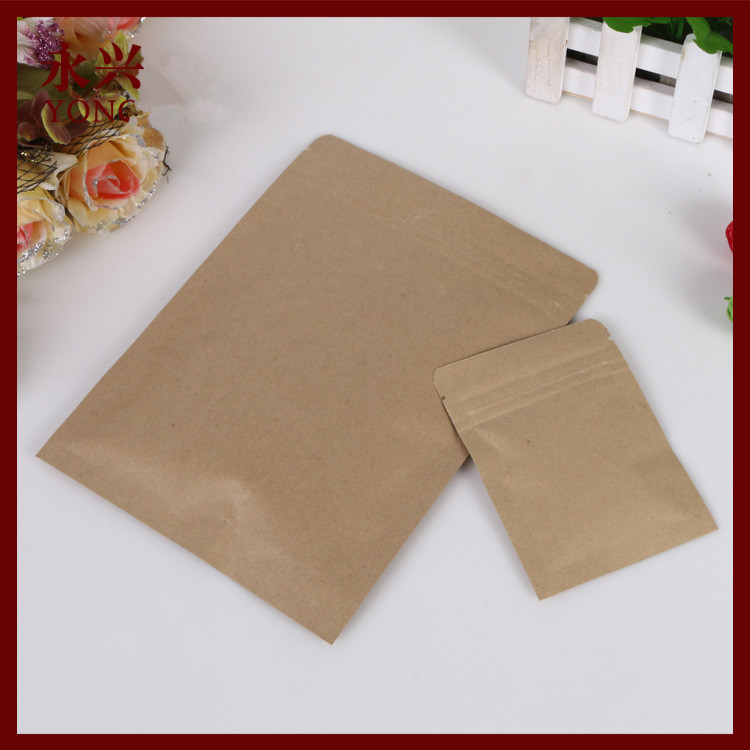 Aliexpress Buy 50pcs Lot Flat Brown Kraft Paper Bag No Window Not Stand Up Zipper Zip Lock Jewelry Packaging Bags For Gifts Tea From