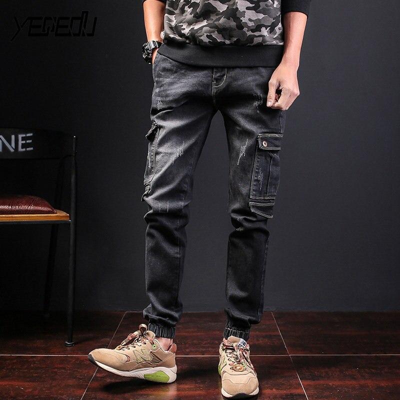 #1492 Plus size jeans homme Black/Blue Multi-pockets Hip hop jeans Loose Stretch denim pants Distressed Streetwear Ripped jeans