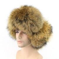 2016 New Winter Men S Fox Raccoon Fur Hat Real Sheepskin Thick Top Fox Fur Earmuffs