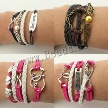 Hot Sale Fashion Leather Double Infinite Bracelets Multilayer Braided Vintage Owl Harry Potter Wings Infinity Bracelet(China (Mainland))