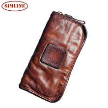 Vintage 100% Vegetable tanned Leather Women Wallet Phone Pocket Purse Wallet Female Card Holder Lady Clutch Carteira Feminina