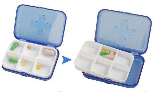 6 slot cute pill case outdoor travel portable pill medicine storage Cute Organizer Box