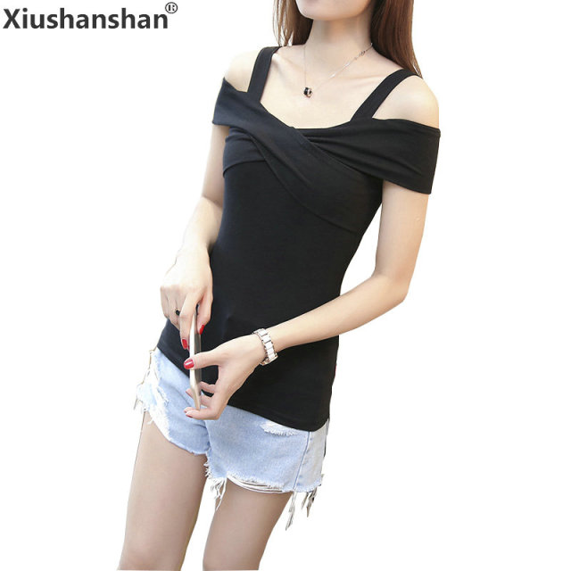 2efffe4a588b Xiushanshan Casual Slash Neck 2018 Off Shoulder Tops Short Sleeve Black  White Gray Solid S XXL 95% Cotton Slim Summer Shirts 040