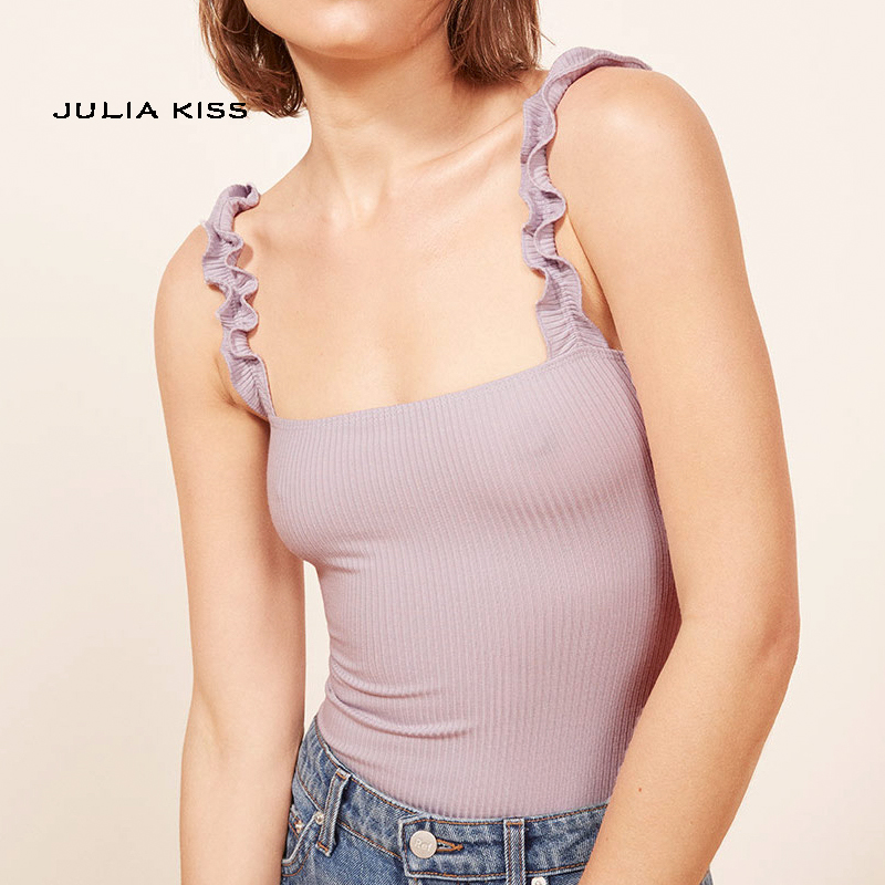 Frill Trim Shirred Crop Cami Top Check out this Frill Trim