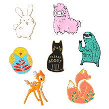 Forest Animal Party Rabbit Sheep Owl Cat Sloth Sika deer Fox Lapel Enamel Pins Badge Bag Denim shirt Clothes Brooches for friend(China)