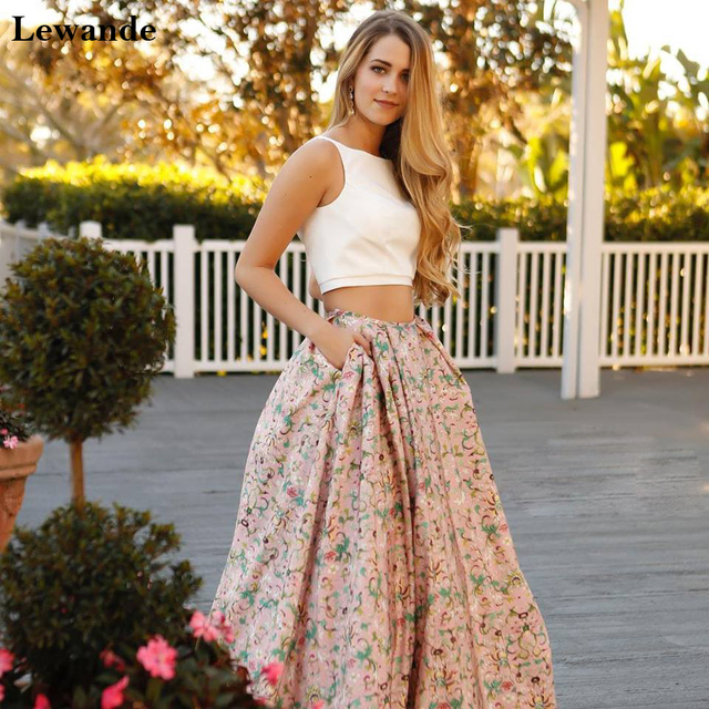 Lewande 51123 Ivory Pink Floral Print Two Piece Prom Dress Fashion 2