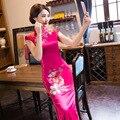 Dress Traditional Chinese-Style Cheongsam Modified Flower Silk Long Cheongsam Long-Sleeved Daily Long Vintage Dress 1682
