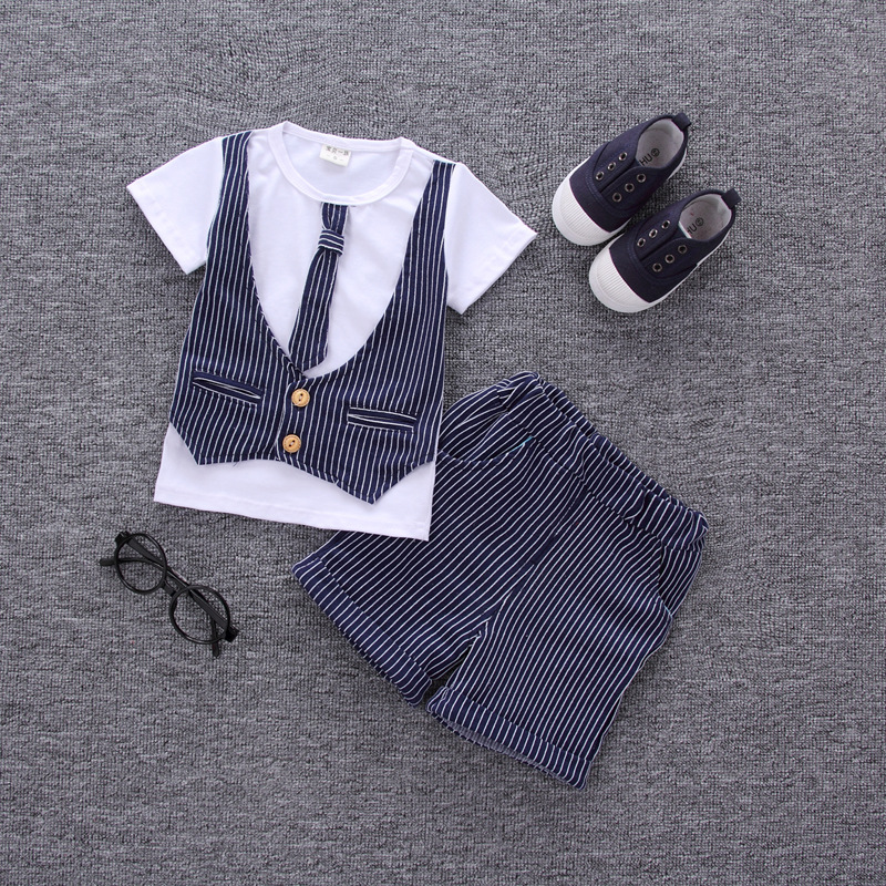 2018 Hot Sale Baby Boys Summer Clothing Sets Boys Tie Waistcoat Cotton T-shirt+Striped Shorts Kids Handsome Suits Clothes