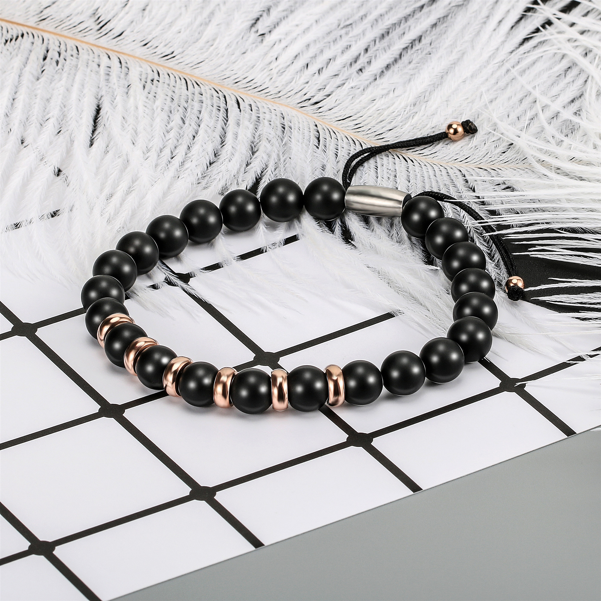 Fashion Bracelet Men Natural Agates Black Onyx Beads Bracelet for Women Mens Stainless Steel Charm Jewelry in Chain Link Bracelets from Jewelry Accessories