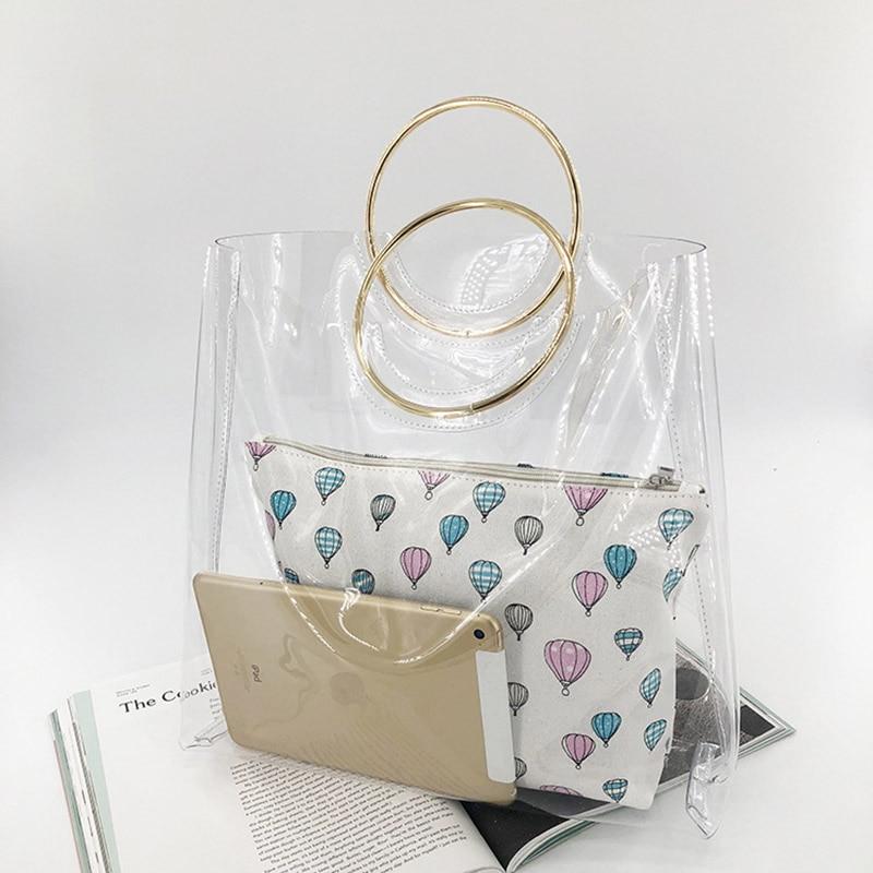 2 Pcs Beach Bags Women Transparent Bag PVC Clear Ladies Plastic Handbags Metal Wristlet Large Tote Ring PVC Jelly Bag W279