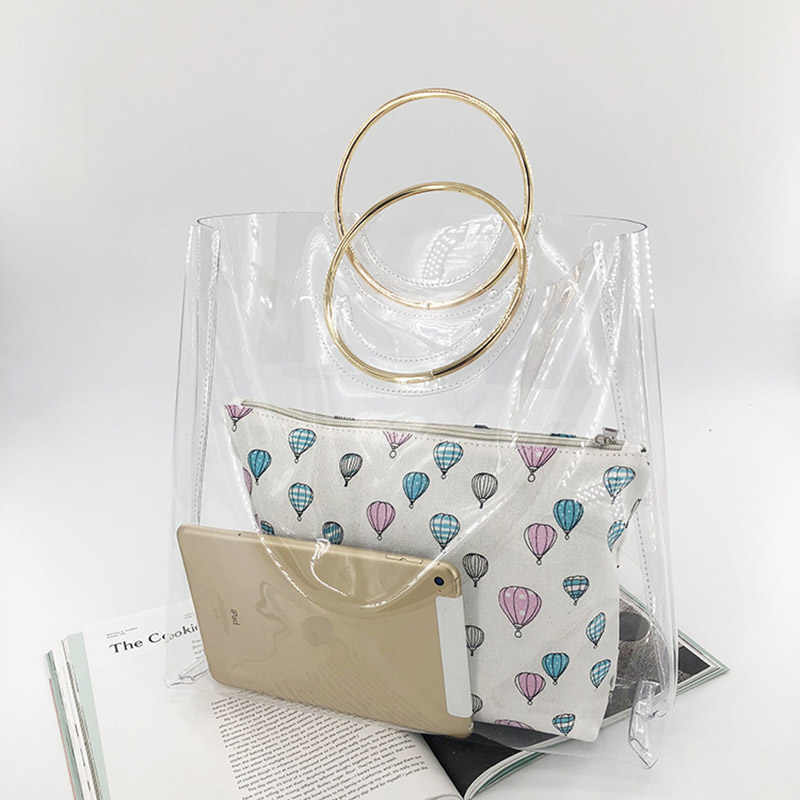 2 Pcs Beach Bags Women Transparent Bag PVC Clear Ladies Plastic Handbags Metal Wristlet Large Tote Ring PVC Jelly Bag W279