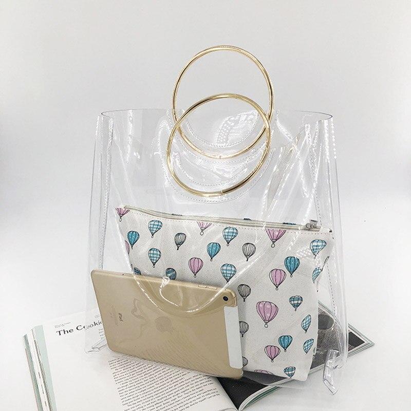 2 Pcs Beach Bags Women Transparent Bag PVC Clear Ladies Plastic Handbags Metal Wristlet Large Tote Ring PVC Jelly Bag W279 алиэкспресс сумка прозрачная