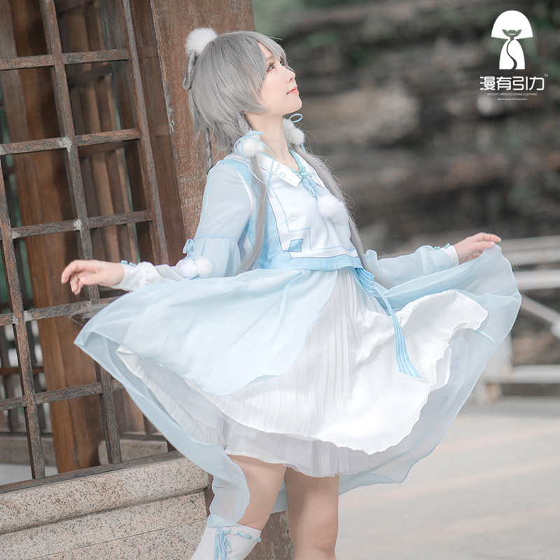 Vocaloid Luka Luo Tianyi Halloween Party Cos Dress Cosplay Costume Daily Dresses Headdress+Dress+Socks