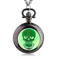 Античная Череп шаблон кулон кварц карманные часы стимпанк Цепочки и ожерелья цепь подарок на Хэллоуин