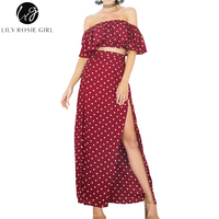 Lily Rosie Girl Women 2017 Off Shoulder Empire Dot Loose Summer Maxi Dress Slash Neck Short