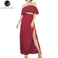 Lily Rosie Cô Gái Phụ Nữ 2017 Tắt Shoulder Đế Chế Dot Lỏng Summer Maxi Dress Slash Cổ Ngắn Tay Áo Sexy Bãi Biển Dresses Vestidos
