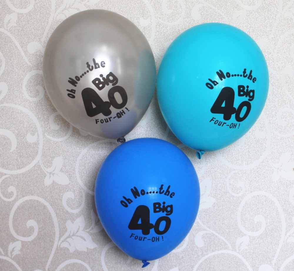 10CT Silver Blue 40 Latex Balloons Supplies Happy Age 40th 50th Birthday Decoration In Ballons Accessories From Home Garden On Aliexpress