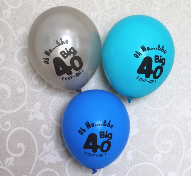 10CT Silver Blue 40 Latex Balloons Supplies Happy Age 40th 50th Birthday Decoration