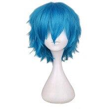 QQXCAIW короткие мужские зеленый синий косплей парик Карнавальный Костюм Высокая температура волокна синтетические волосы парики