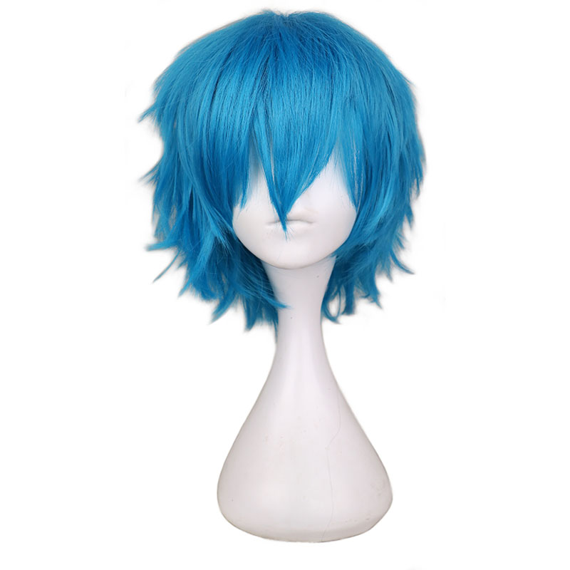 QQXCAIW Short Men Green Blue Cosplay Wig Party Costume High Temperature Fiber Synthetic Hair Wigs