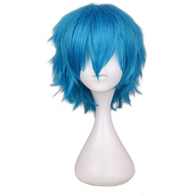 Green Blue Cosplay Fiber Synthetic Hair Wigs