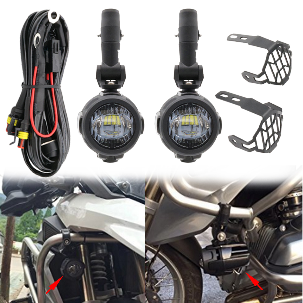 Pair 40W LED Auxiliary Spot Driving Light With Protective Guard For BMW Motorcycle  R1200GS F800GS K1600