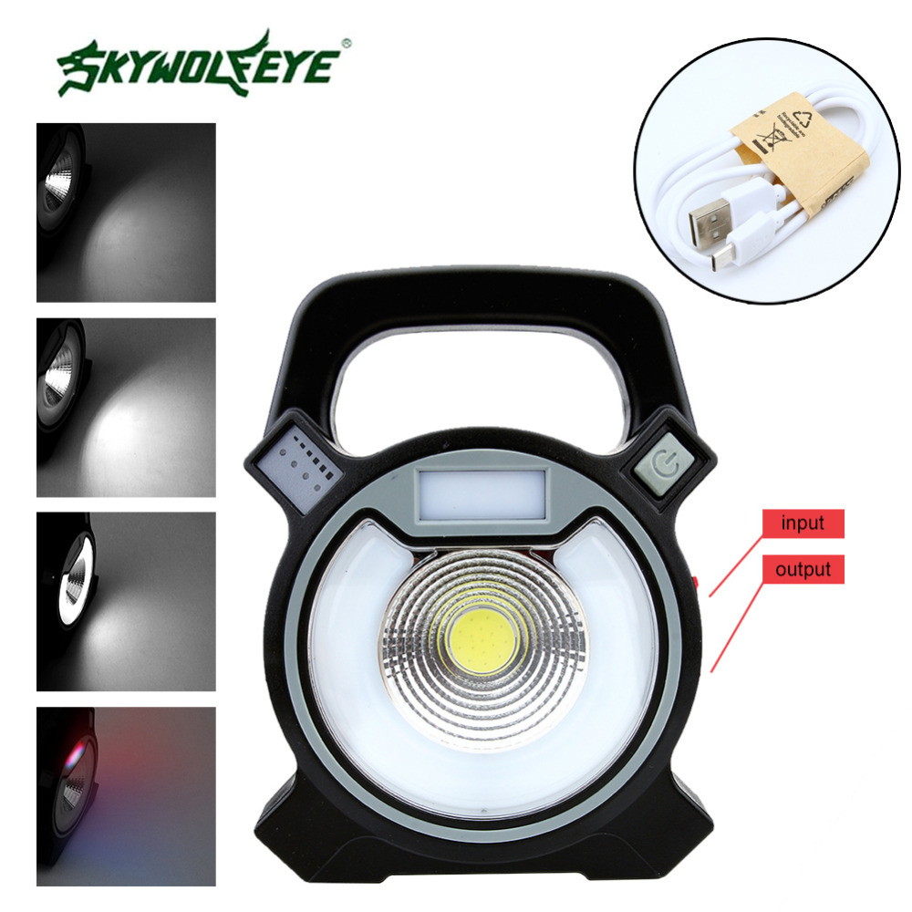 SKYWOLFEYES COB+20 SMD LED Portable Outdoor Indoor Camping Lantern Tent Light Campsite Hanging Lamp For 2x18650 Battery operated