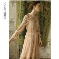 Luxury Victorian Wedding Dress Vintage Pink Fit And Flare Precision Hand Made High Quality Embroidery Lace Princess Dress T243