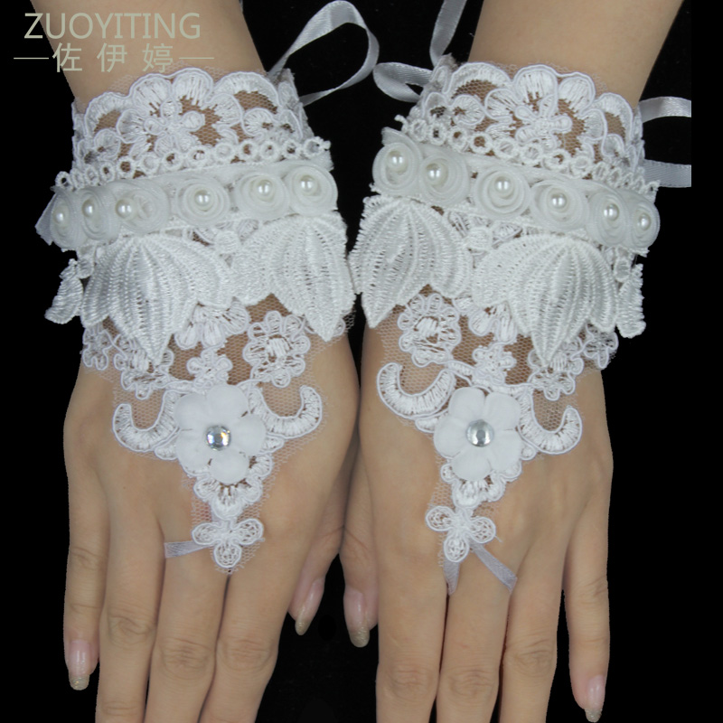 ZUOYITING Top Fashion Pearl Crocheted Lace Fingerless Guantes blancos - Accesorios de boda