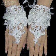 ZUOYITING Top Fashion Pearl Hæklet Lace Fingerless White Wedding Handsker Armbånd Kort Brudehandsker Bryllup Tilbehør 19