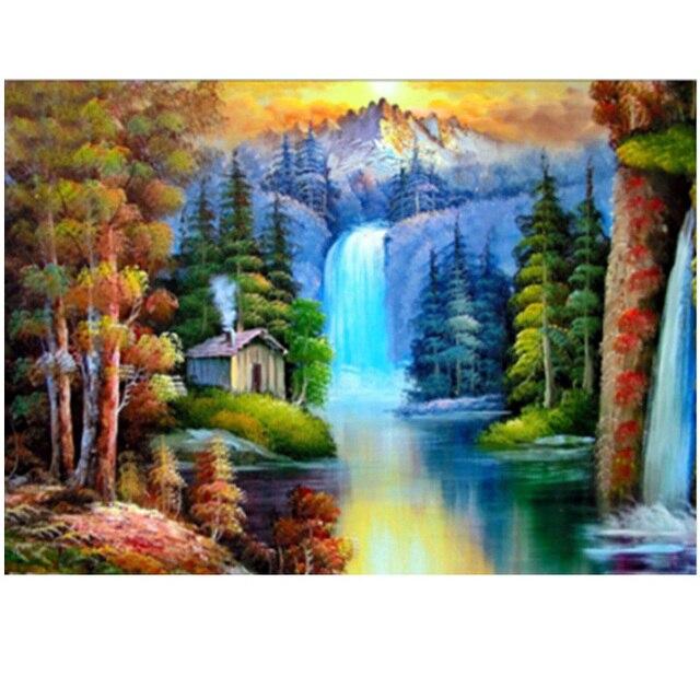 Diamond embroidery Forest Waterfalls round diamond mosaic cross stitch  house unfinished decorative diamond painting landscape